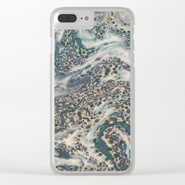 Metallic Marbled Agate Clear iPhone Case
