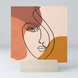 Abstract Shapes-Face Line Art Mini Art Print