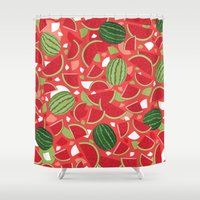 watermelon Shower Curtains featuring Watermelon by Ornaart