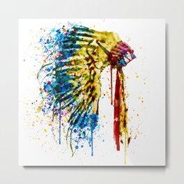 Native American Feather Headdress Metal Print