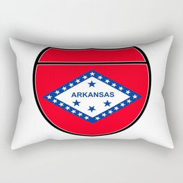 Arkansas Flag In An Interstate Sign Rectangular Pillow