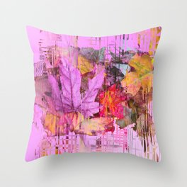 Rainbow leaves of the fall Throw Pillow