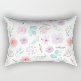 Pastel pink lilac watercolor hand painted modern floral Rectangular Pillow