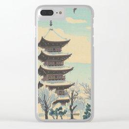 Kotozuka Eiichi Eight Kyoto Snow Scenes Toji Tempe Five Storey Pagoda Japanese Woodblock Print Clear iPhone Case