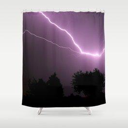 Purple Lightning Night Sky Shower Curtain