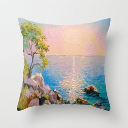 Cote d'azur by the sea Throw Pillow