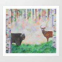 The relationship between a bear and a deer Art Print