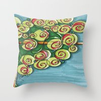 plant Throw Pillows featuring plant by Onde di Tela by Antonella Franco