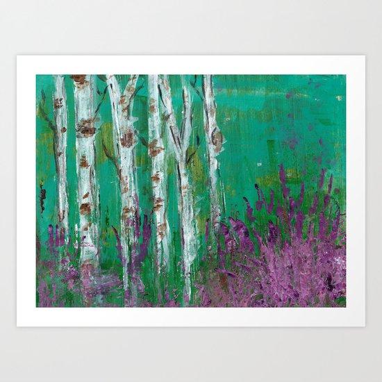 Birch Trees in a Lavender Field Art Print