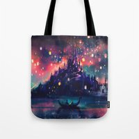 new york skyline Tote Bags featuring The Lights by Alice X. Zhang