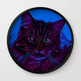 squinting maine coon cat vector art night from day Wall Clock