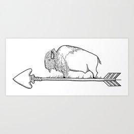 Bison on an arrow Art Print
