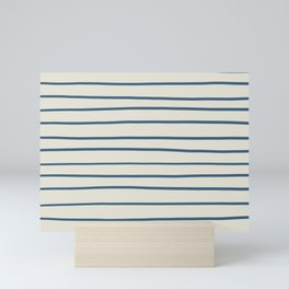 Blue Hand Drawn Horizontal Lines on Linen White Pairs To 2020 Color of the Year Chinese Porcelain Mini Art Print
