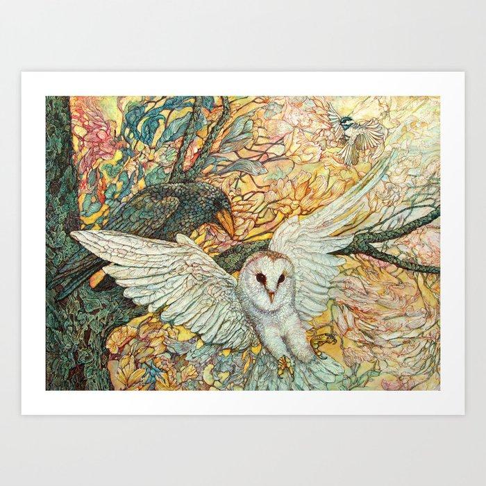 The Playground _ Raven, Owl, Chickadee Art Print