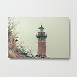 Little Sable Point Lighthouse Lantern Room over the Dune Haze Metal Print