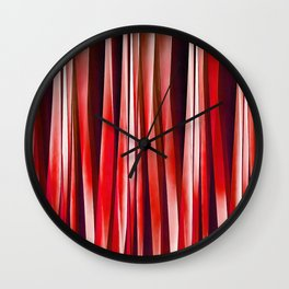 Impulsive Adventure Red Striped Abstract Pattern Wall Clock