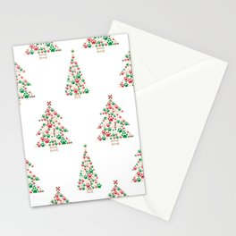 Made of paw print Christmas tree. Christmas and Happy new year seamless fabric design pattern white background Stationery Cards
