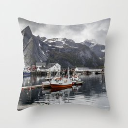 Lofoten Islands, Norway Mountain Landscape Throw Pillow