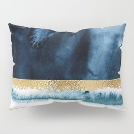 Navy Blue, Gold And White Abstract Watercolor Art Pillow Sham