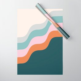 Abstract Diagonal Waves in Teal, Terracotta, and Pink Wrapping Paper