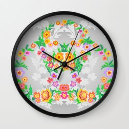 Wreaths from abstract flowers on floral background Wall Clock