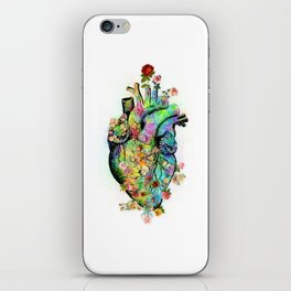Flowers colorful heart watercolor iPhone Skin