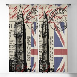London Great Britain Big Ben Flag Collage Blackout Curtain