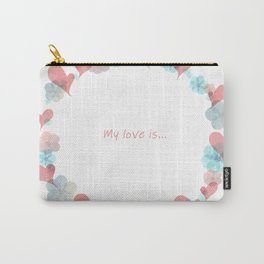 Watercolor illustration of heart and flowers Carry-All Pouch
