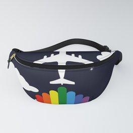 Rainbow airplane Fanny Pack