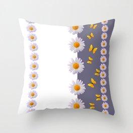 WHITE DAISIES & SPRING BUTTERFLIES & WHITE-GREY ART Throw Pillow