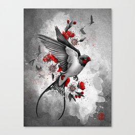 swallows and sakuras Canvas Print