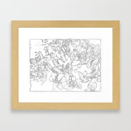 Large flowers pencil effect Framed Art Print