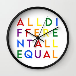 All different All equal (rainbow flag) Wall Clock