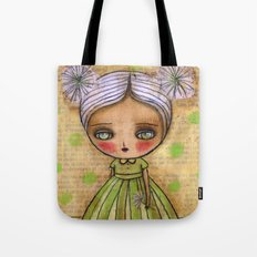 Dandelion Girl in Yellow And Green Tote Bag