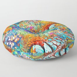 Colorful Iguana Art - Tropical Two - Sharon Cummings Floor Pillow
