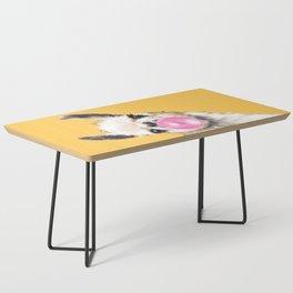Bubble Gum Sneaky Llama in Yellow Coffee Table