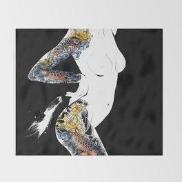 Traditional japanese body koi tattoo, Black and white illustration, Nude art, Naked beauty body Throw Blanket