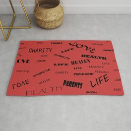 Red background with words decoration Rug