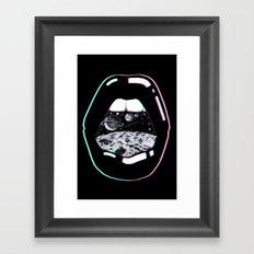 Space Lips Black Framed Art Print
