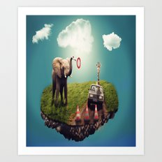 Funny Elephant With Car Art Print