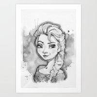 Elsa Black and White Art Print