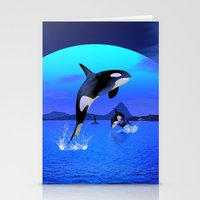 orca Stationery Cards featuring Orca by Simone Gatterwe
