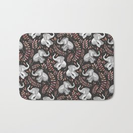 Laughing Baby Elephants - Coral Bath Mat