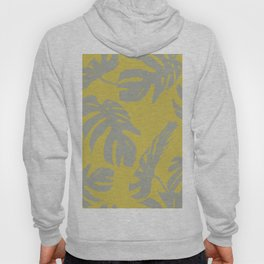 Palm Leaves Retro Gray on Mod Yellow Hoody