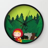 red hood Wall Clocks featuring Little Red Riding Hood by parisian samurai studio