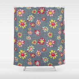 Retro Linocut Daisy Scatter Shower Curtain
