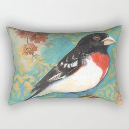 Red Breasted Grosbeak by Robynne Rectangular Pillow