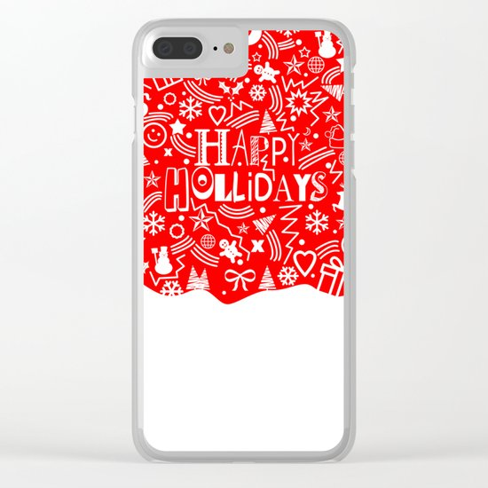 Happy Holidays Clear iPhone Case