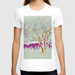 Winter Trees Purple Teal Gold Buffalo by CheyAnne Sexton T-shirt