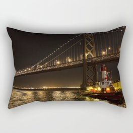 Bay Bridge Fire Boat at Night Rectangular Pillow